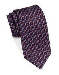 Brooks Brothers Chain Link Striped Tie Navy