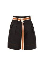 Lee Mathews Lucien Belted High Rise Shorts Black