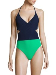 Tory Burch Colorblock Wrap One Piece Swimsuit Tory Navy