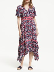 Boden Holly Hanky Hem Midi Dress Navy Multi