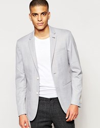 Jack And Jones Jack And Jones Pique Blazer In Slim Fit Light Grey Melange