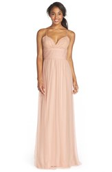 Women's Amsale Lace And Tulle Spaghetti Strap Gown Fawn