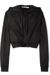 Alexander Wang T By Cropped Twist Front French Terry Hooded Top Black Usd