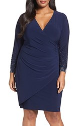 Marina Plus Size Women's Embellished Faux Wrap Dress