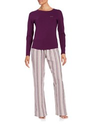 Calvin Klein Long Sleeve Tee And Pajama Pants Set Purple Stripe