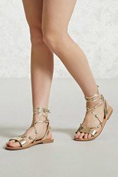 Forever 21 Star Accent Ankle Wrap Sandals Gold