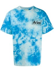 Aries Tie Dye Print T Shirt Blue