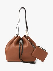 And Or Tulum Leather Drawstring Shoulder Bag Tan