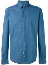 Hugo Boss Denim Shirt Men Cotton S Blue