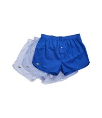 Lacoste Authentics 3 Pack Gingham Print Woven Boxers Medium Blue Men's Underwear