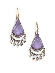 Alexis Bittar Crystal Lace Lucite Chandelier Earrings Orchid