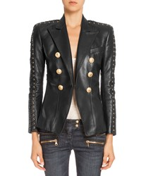 Balmain Double Breasted Leather Jacket Black