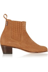 Penelope Chilvers Cubana Python Effect Suede Ankle Boots Brown