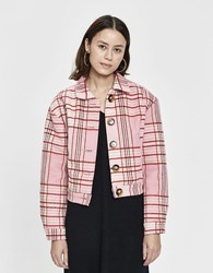 Farrow Jaye Lined Plaid Jacket In Pink Size Small