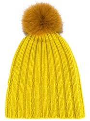 Danielapi Pompom Ribbed Beanie Yellow And Orange
