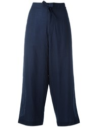 Y's Cropped Wide Leg Trousers Blue