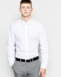 Brave Soul Plain Formal Shirt With Contrast Neck White