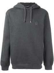 Dolce And Gabbana Embroidered Crown Hoodie Grey