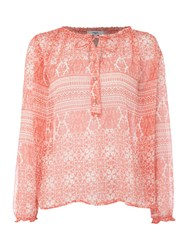 Suncoo Loic Printed Long Sleeve Blouse With Tie Red