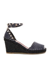 Valentino Rockstud Double Wedges In Blue Black