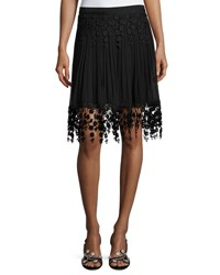 Elie Tahari Brielle Pleated Chiffon And Floral Lace Skirt Black