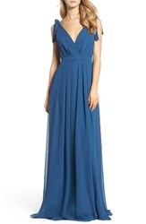 Monique Lhuillier Bridesmaids Women's Sleeveless Deep V Neck Chiffon Gown Lapis