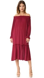 Re Named Off Shoulder Midi Dress Berry
