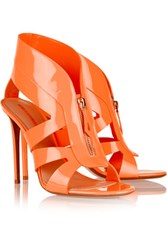 Nicholas Kirkwood Neon Patent Leather Sandals Orange