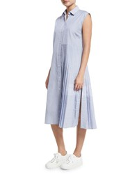 Public School Emerson Sleeveless Pleated Striped Shirtdress Blue White Blue White