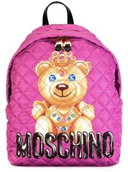 Moschino Bear Print Backpack Pink Purple