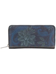 Etro Floral Paisley Zipped Wallet Blue