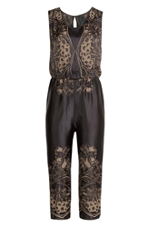 Anna Sui Embroidered Satin Jumpsuit