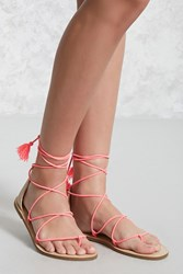 Forever 21 Faux Suede Thong Sandals Neon Pink