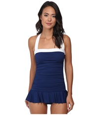 Lauren Ralph Lauren Bel Aire Shirred Bandeau Skirted Mio Slimming Fit One Piece Bright Indigo Women's Swimsuits One Piece Navy