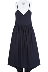 Sea Wool Pique And Cotton Poplin Dress Navy