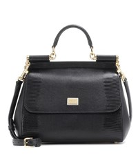 Dolce And Gabbana Sicily Embossed Leather Shoulder Bag Black