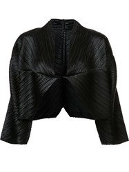 Issey Miyake Pleats Please By Pleated Cropped Jacket Black