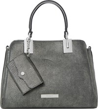 Dune Dinidillier Faux Leather Handbag Grey Reptile Synthetic