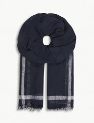 Claudie Pierlot Metallic Stripe Scarf Blue