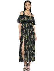 Sonia Rykiel Ruffled Camo Print Cotton Crepe Dress