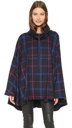 Shades Of Grey Royal Check Poncho Navy Royal Red Check