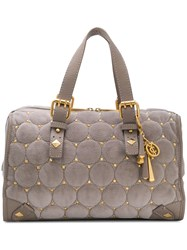 Juicy Couture Quilted Stud Tote Bag Cotton Leather Grey