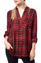 Women's Topshop 'Ali' Beaded Plaid Shirt Red Multi