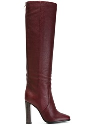 Pollini Knee High Boots Red