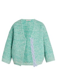 Vika Gazinskaya Plaited Detail Wool Open Cardigan Green Multi