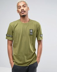 Dxpe Chef T Shirt With Military Patches Khaki Green