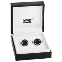 Montblanc Onyx Inlay Round Cufflinks Black