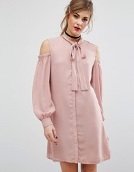 Fashion Union Cold Shoulder Dress With Tie Up Bow Neck Nude Pink