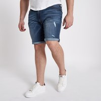 River Island Big And Tall Blue Ripped Denim Shorts
