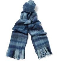 Our Legacy Plaid Brushed Wool Blend Scarf Blue